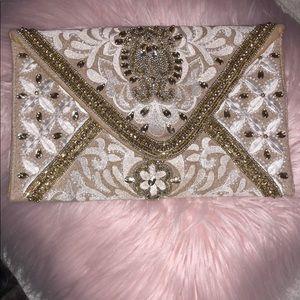 Fashion Cream embroidered clutch!
